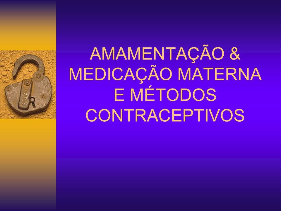 AMAMENTAÇÃO & MEDICAÇÃO MATERNA Antibióticos: Penicilinas (Amoxil R, Benzetacil R, Clavulin R ) Cefalosporinas (Rocefin R, Keflex R, Kefazol R ) Aminoglicosídeos (Amicacina, Garamicina, Gentamicina, Espectinomicina – Trobicin R ) Sulfonamidas