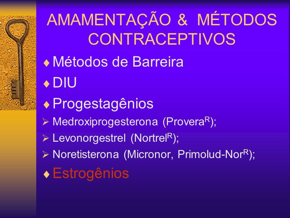 Métodos de Barreira DIU Progestagênios Medroxiprogesterona (Provera R ); Levonorgestrel (Nortrel R ); Noretisterona (Micronor, Primolud-Nor R ); Estro
