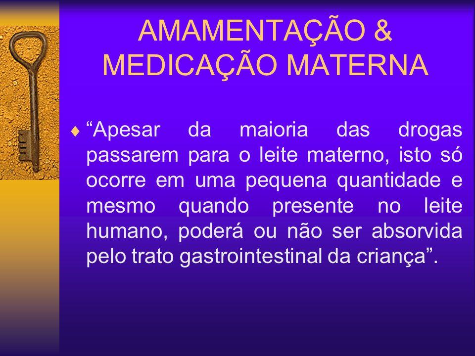 AMAMENTAÇÃO & MEDICAÇÃO MATERNA Cardiovasculares: Anti-hipertensivos(Captopil – Capoten R, Enalapril – Renitec R, Metildopa, Atenolol – Atenol R ) Cardiotônicos (Digitoxina, Digoxina) Antianginosos (Isossorbida – Isordil R )