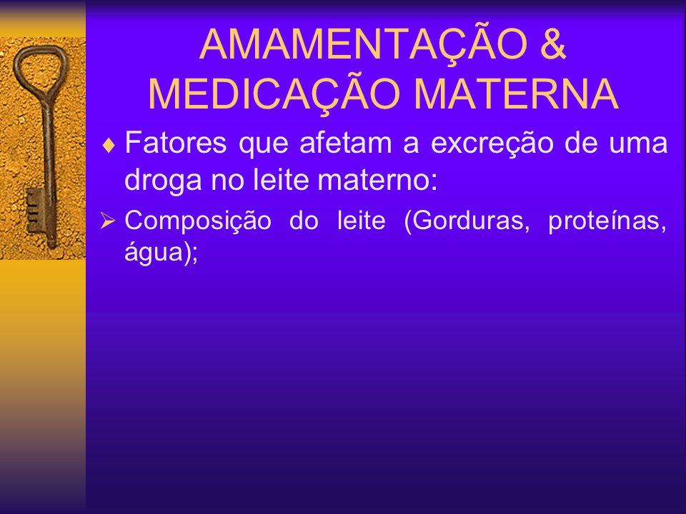 AMAMENTAÇÃO & MEDICAÇÃO MATERNA Fatores que afetam a excreção de uma droga no leite materno: Composição do leite (Gorduras, proteínas, água);
