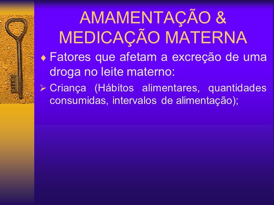 AMAMENTAÇÃO & MEDICAÇÃO MATERNA Fatores que afetam a excreção de uma droga no leite materno: Droga (Características de solubilização em água e gorduras, peso molecular)