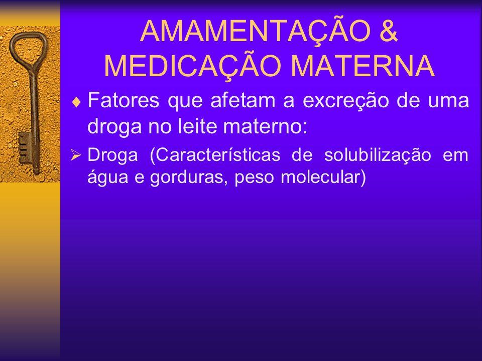 AMAMENTAÇÃO & MEDICAÇÃO MATERNA Fatores que afetam a excreção de uma droga no leite materno: Farmacologia materna (Dose da droga; freqüência e vias de administração, ligação a proteínas plasmáticas); Glândula mamária (Fluxo sangüíneo, pH, matabolismo da droga); Composição do leite (Gorduras, proteínas, água); Criança (Hábitos alimentares, quantidades consumidas, intervalos de alimentação); Droga (Características de solubilização em água e gorduras, peso molecular)