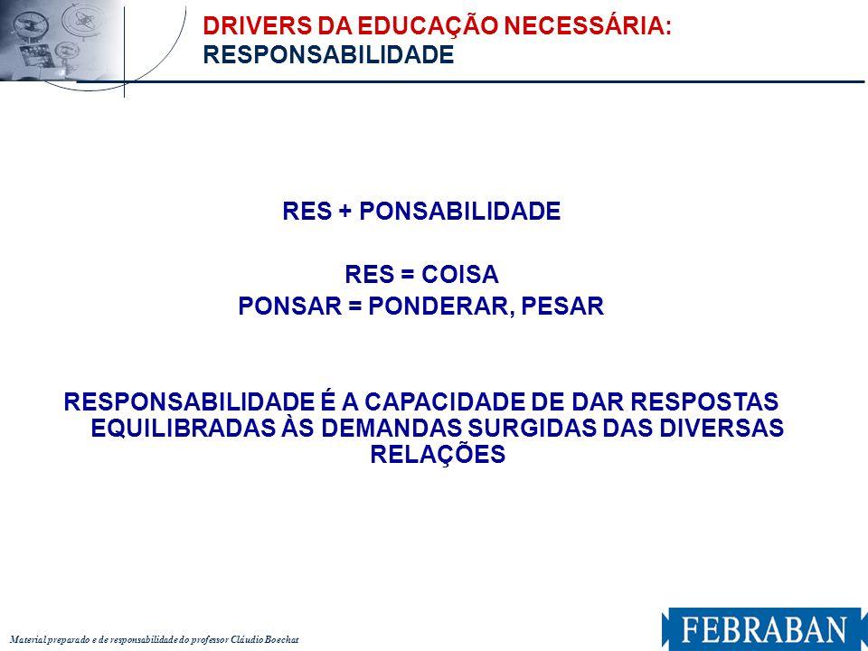 Material preparado e de responsabilidade do professor Cláudio Boechat RES + PONSABILIDADE RES = COISA PONSAR = PONDERAR, PESAR RESPONSABILIDADE É A CA