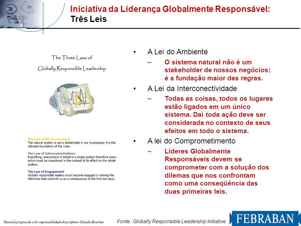 Material preparado e de responsabilidade do professor Cláudio Boechat Iniciativa da Liderança Globalmente Responsável: Três Leis A Lei do Ambiente –O