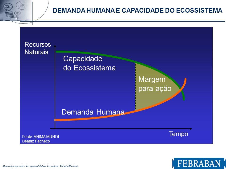 Material preparado e de responsabilidade do professor Cláudio Boechat Tempo Capacidade do Ecossistema Demanda Humana Recursos Naturais Margem para açã