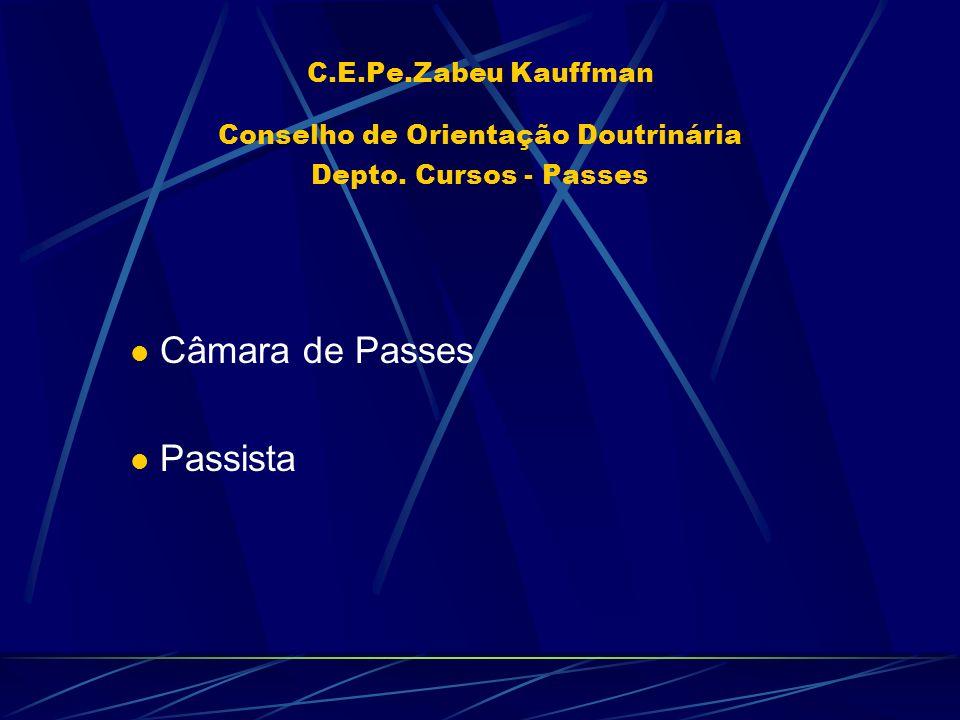 C.E.Pe.Zabeu Kauffman Conselho de Orientação Doutrinária Depto. Cursos - Passes Câmara de Passes Passista