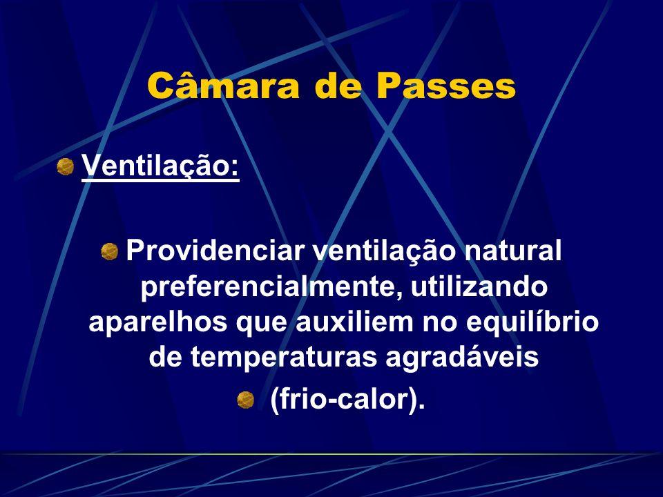 Câmara de Passes Ventilação: Providenciar ventilação natural preferencialmente, utilizando aparelhos que auxiliem no equilíbrio de temperaturas agradáveis (frio-calor).