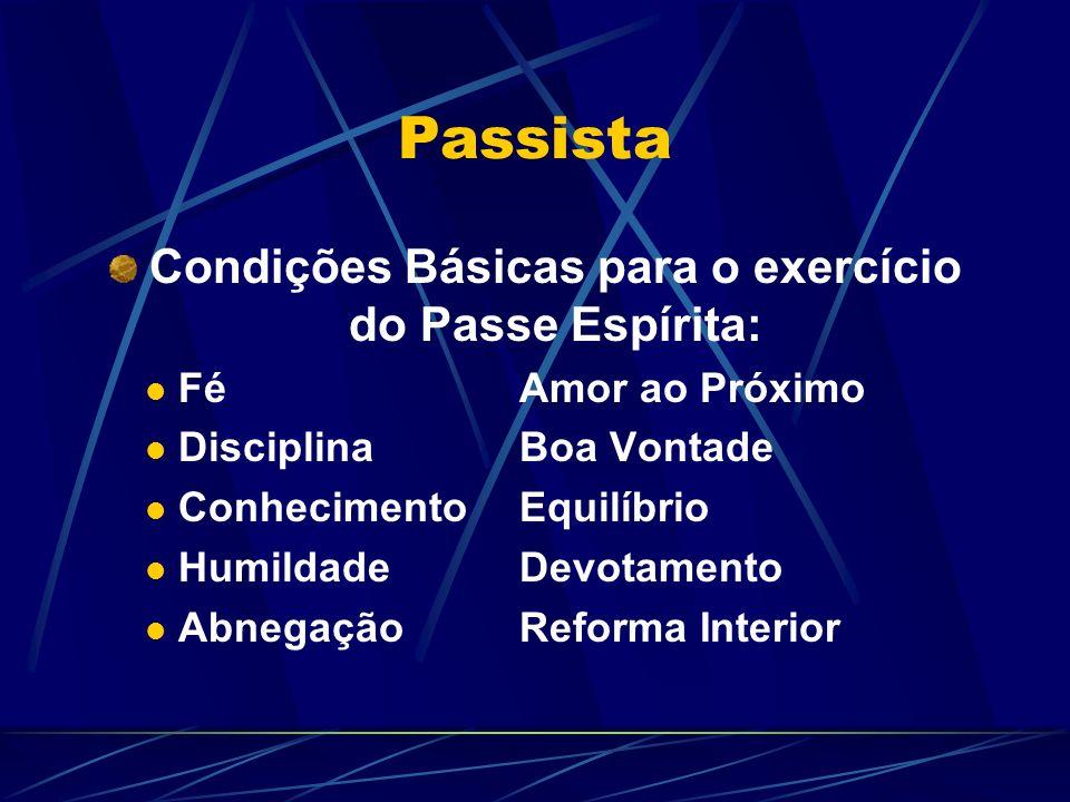 Passista Condições Básicas para o exercício do Passe Espírita: FéAmor ao Próximo DisciplinaBoa Vontade ConhecimentoEquilíbrio HumildadeDevotamento AbnegaçãoReforma Interior