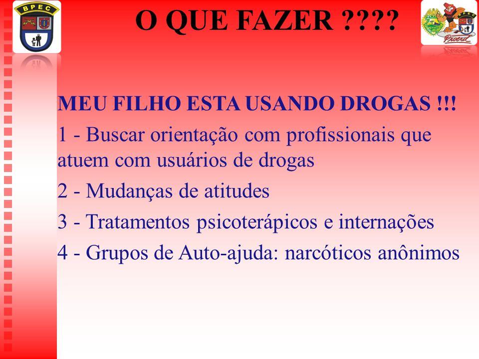 O QUE FAZER ???? MEU FILHO ESTA USANDO DROGAS !!! 1 - Buscar orientação com profissionais que atuem com usuários de drogas 2 - Mudanças de atitudes 3