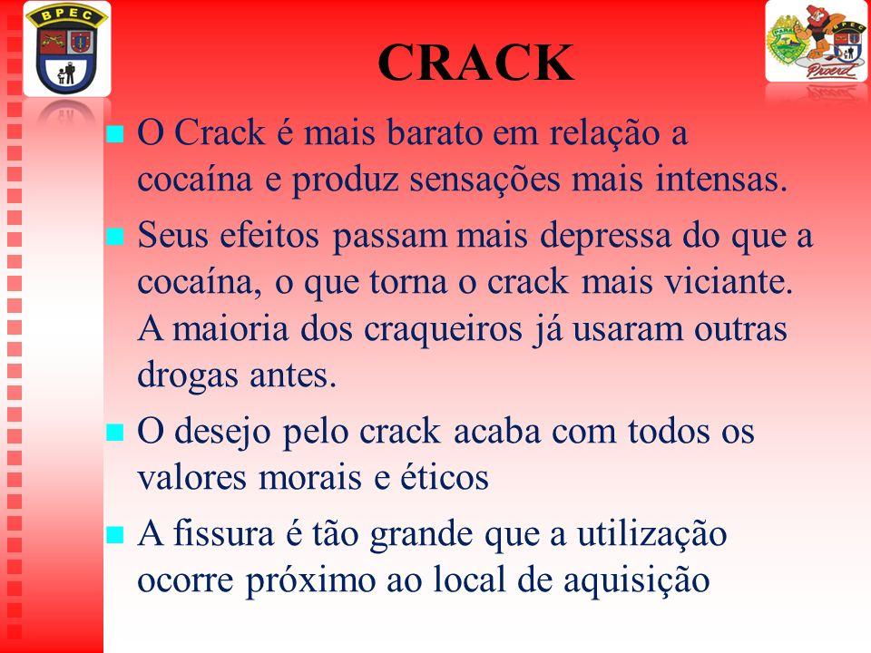 7 O Crack é mais barato em relação a cocaína e produz sensações mais intensas. Seus efeitos passam mais depressa do que a cocaína, o que torna o crack