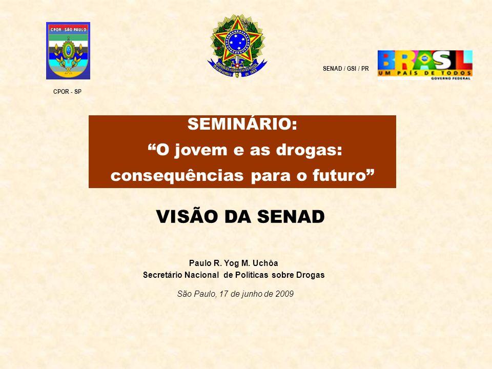 Paulo R. Yog M. Uchôa Secretário Nacional de Políticas sobre Drogas São Paulo, 17 de junho de 2009 SENAD / GSI / PR SEMINÁRIO: O jovem e as drogas: co