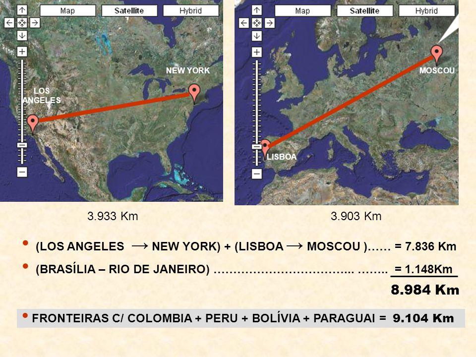 LOS ANGELES NEW YORK LISBOA MOSCOU 3.933 Km 3.903 Km (LOS ANGELES NEW YORK) + (LISBOA MOSCOU )…… = 7.836 Km FRONTEIRAS C/ COLOMBIA + PERU + BOLÍVIA +