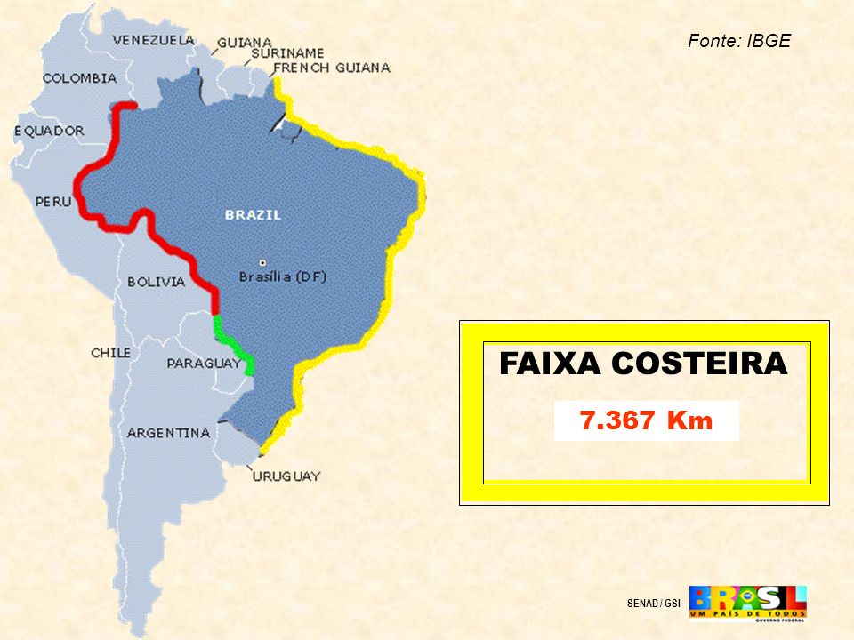 FAIXA COSTEIRA 7.367 Km SENAD / GSI Fonte: IBGE