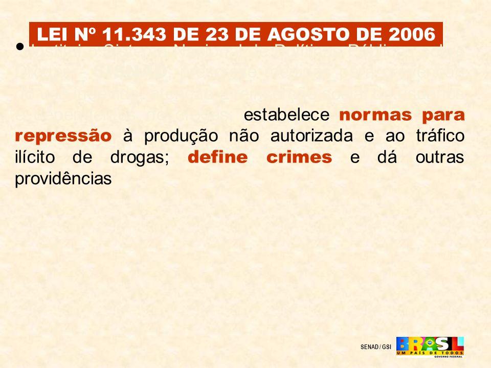LEI Nº 11.343 DE 23 DE AGOSTO DE 2006 SENAD / GSI Institui o Sistema Nacional de Políticas Públicas sobre Drogas - SISNAD ; prescreve medidas para pre