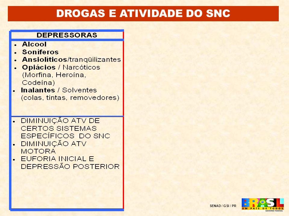 DROGAS E ATIVIDADE DO SNC SENAD / GSI / PR