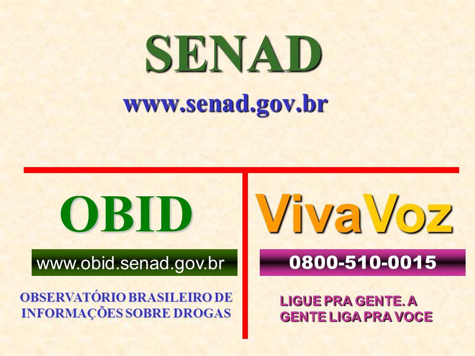 SENAD www.senad.gov.br OBID OBSERVATÓRIO BRASILEIRO DE INFORMAÇÕES SOBRE DROGAS www.obid.senad.gov.br VivaVoz 0800-510-0015 LIGUE PRA GENTE. A GENTE L