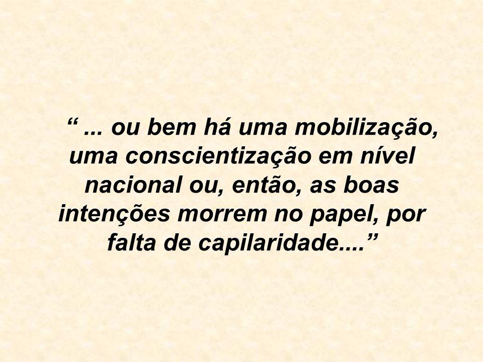 ... ou bem há uma mobilização, uma conscientização em nível nacional ou, então, as boas intenções morrem no papel, por falta de capilaridade....