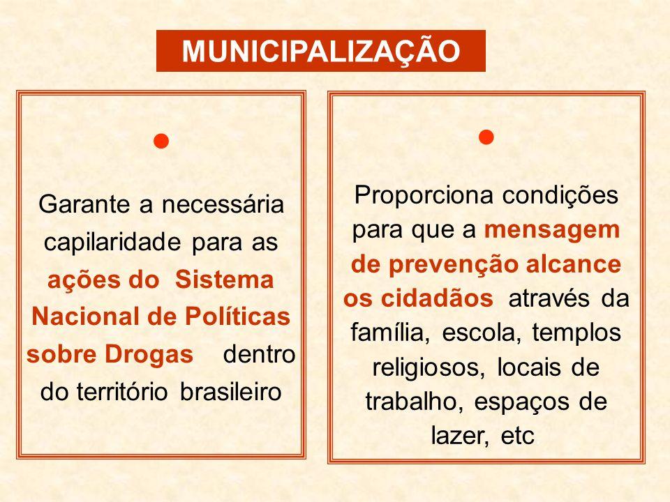 MUNICIPALIZAÇÃO Garante a necessária capilaridade para as ações do Sistema Nacional de Políticas sobre Drogas dentro do território brasileiro Proporci