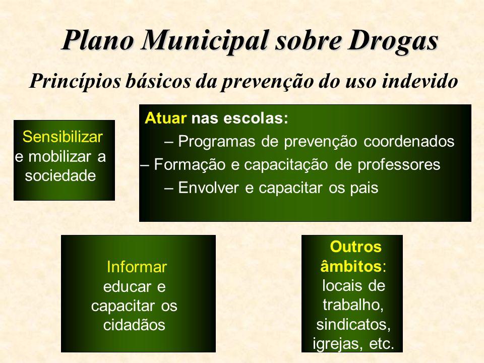 Plano Municipal sobre Drogas Princípios básicos da prevenção do uso indevido Sensibilizar e mobilizar a sociedade Informar educar e capacitar os cidad