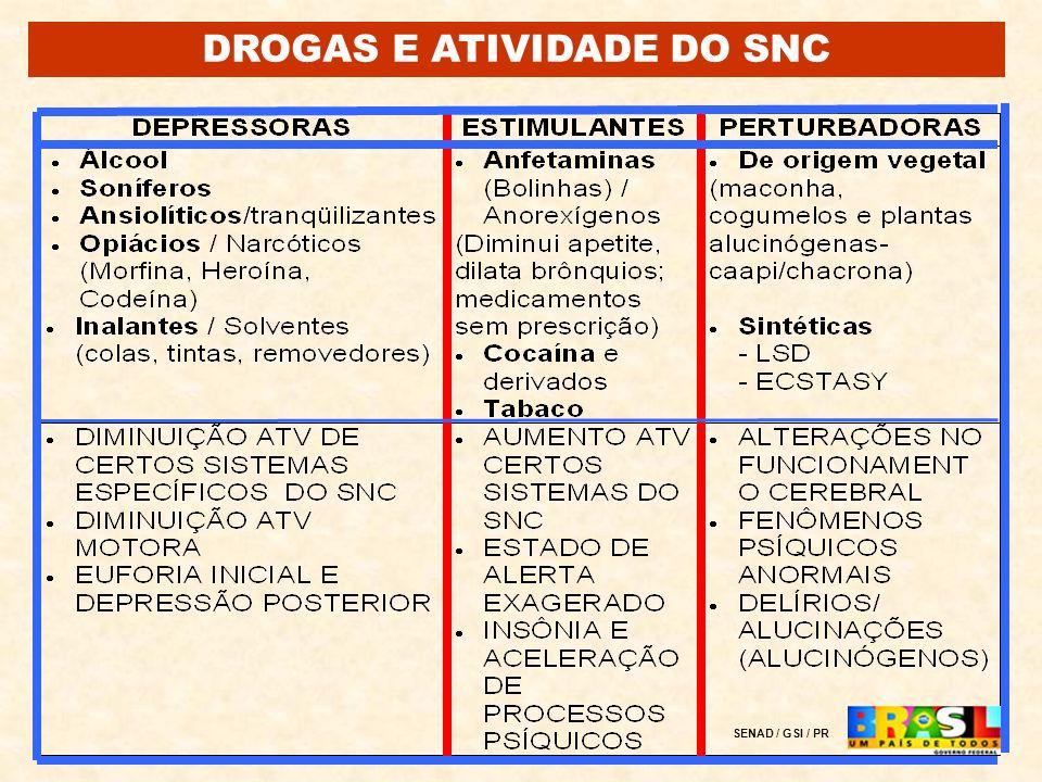 Prevalência anual de uso de substâncias psicoativas em nível global (UNODC – World Drug Report – 2005) Drogas Ilícitas % da população ( 15 a 64 anos) 0 % 20 % 5 % AS DROGAS NO MUNDO