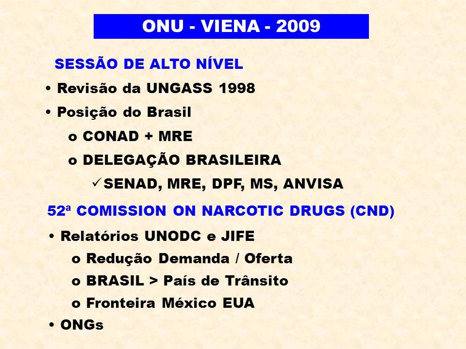 Revisão da UNGASS 1998 Posição do Brasil o CONAD + MRE o DELEGAÇÃO BRASILEIRA SENAD, MRE, DPF, MS, ANVISA ONU - VIENA - 2009 SESSÃO DE ALTO NÍVEL 52ª