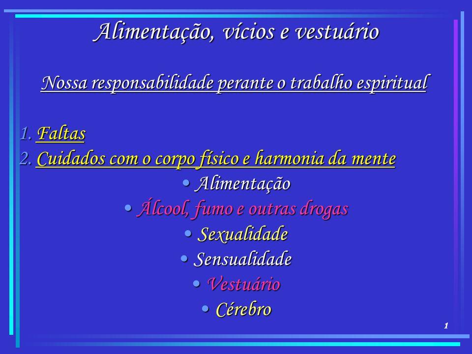 1 Alimentação, vícios e vestuário Nossa responsabilidade perante o trabalho espiritual 1.Faltas 2.Cuidados com o corpo físico e harmonia da mente Alim