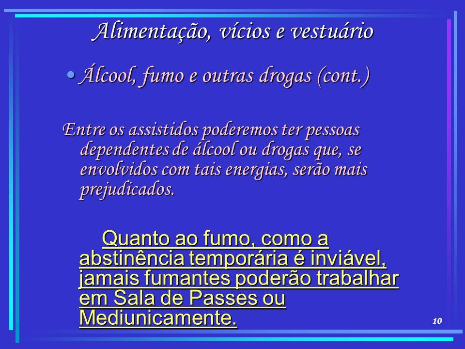 10 Alimentação, vícios e vestuário Álcool, fumo e outras drogas (cont.)Álcool, fumo e outras drogas (cont.) Entre os assistidos poderemos ter pessoas
