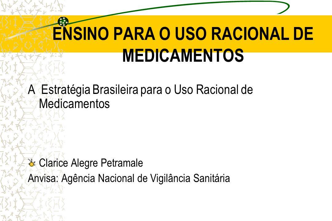 Conteúdo desta apresentação Evolução das Exigências Sanitárias para o Registro de Medicamentos Desafios na área de Medicamentos Propostas em Andamento Algumas estatísticas mundiais sobre EA a Medicamentos Fatores que propiciam a Ocorrência de EA a Medicamentos Ensino para o Uso Racional de Medicamentos Progressão da estratégia URM no Brasil