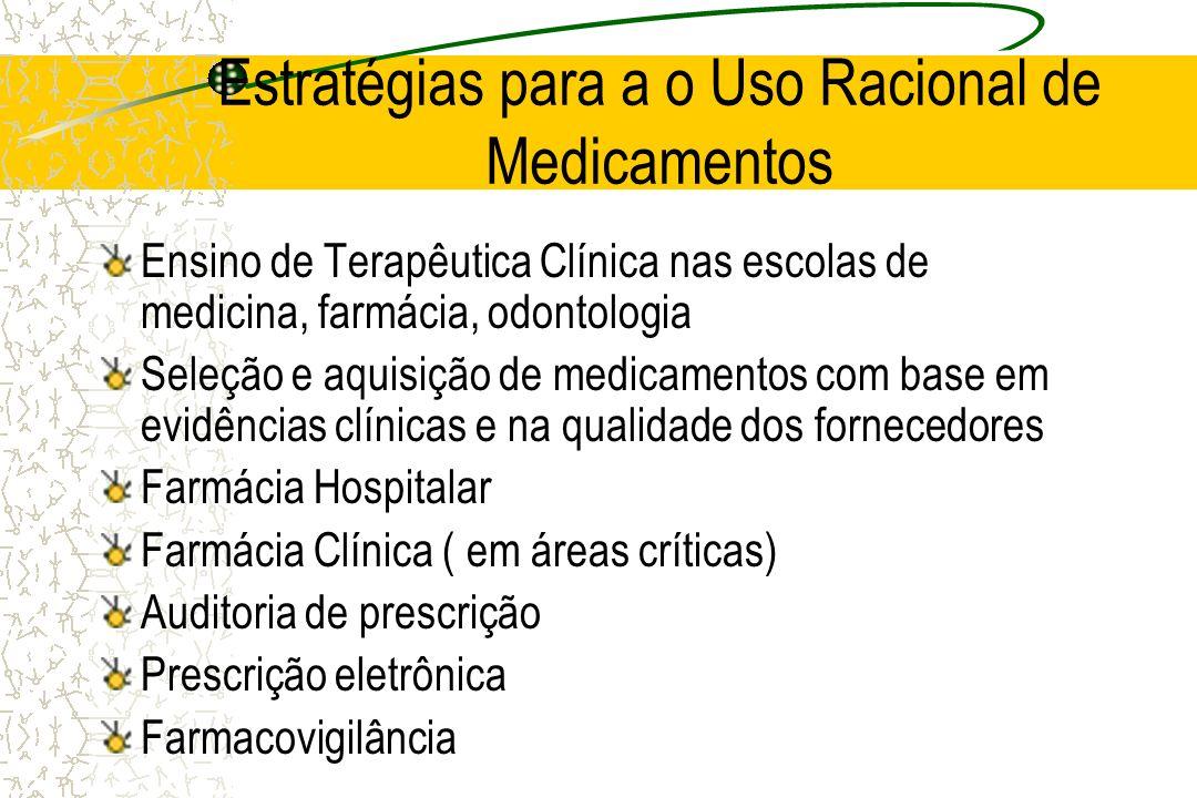 Estratégias para a o Uso Racional de Medicamentos Ensino de Terapêutica Clínica nas escolas de medicina, farmácia, odontologia Seleção e aquisição de