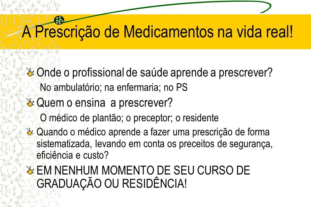 A Prescrição de Medicamentos na vida real! Onde o profissional de saúde aprende a prescrever? No ambulatório; na enfermaria; no PS Quem o ensina a pre