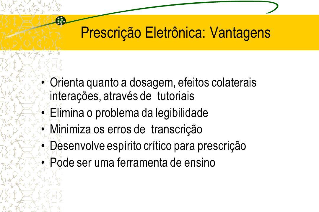 Prescrição Eletrônica: Vantagens Orienta quanto a dosagem, efeitos colaterais interações, através de tutoriais Elimina o problema da legibilidade Mini
