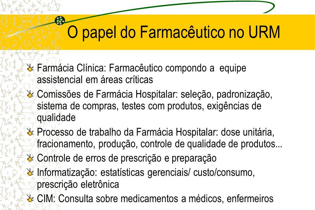O papel do Farmacêutico no URM Farmácia Clínica: Farmacêutico compondo a equipe assistencial em áreas críticas Comissões de Farmácia Hospitalar: seleç