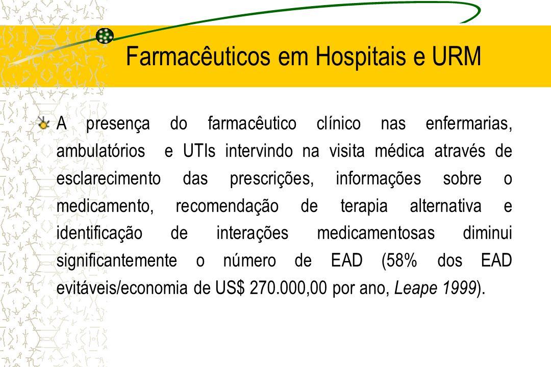 Farmacêuticos em Hospitais e URM A presença do farmacêutico clínico nas enfermarias, ambulatórios e UTIs intervindo na visita médica através de esclar