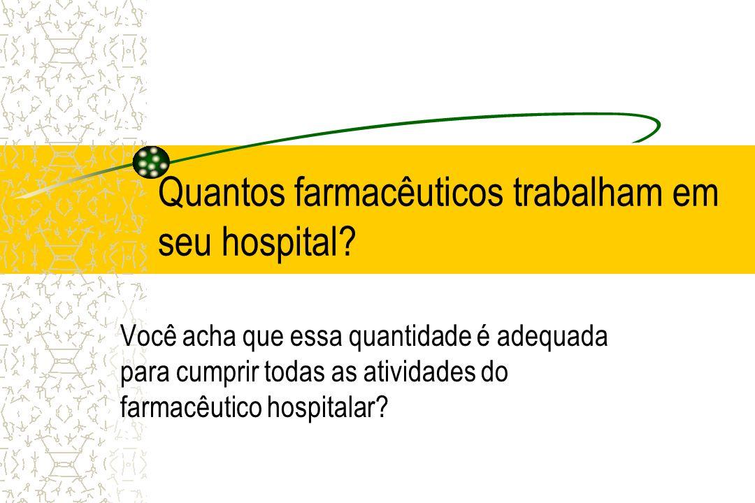 Quantos farmacêuticos trabalham em seu hospital? Você acha que essa quantidade é adequada para cumprir todas as atividades do farmacêutico hospitalar?