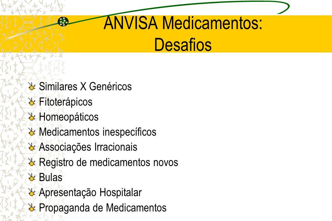 ANVISA: Propostas em Andamento Biodisponibilidade + Bioequivalência para Similares Revisão de Associações Medicamentosas Registro de tipo 1 Medicamentos Inespecíficos Registro para homeopáticos e fitoterápicos Farmácias de Manipulação: controle de produção Harmonização de Bulas: nacionais e internacionais Bulas para consumidor e profissional de saúde Monitoramento de Propaganda Ensino para o Uso Racional de Medicamentos