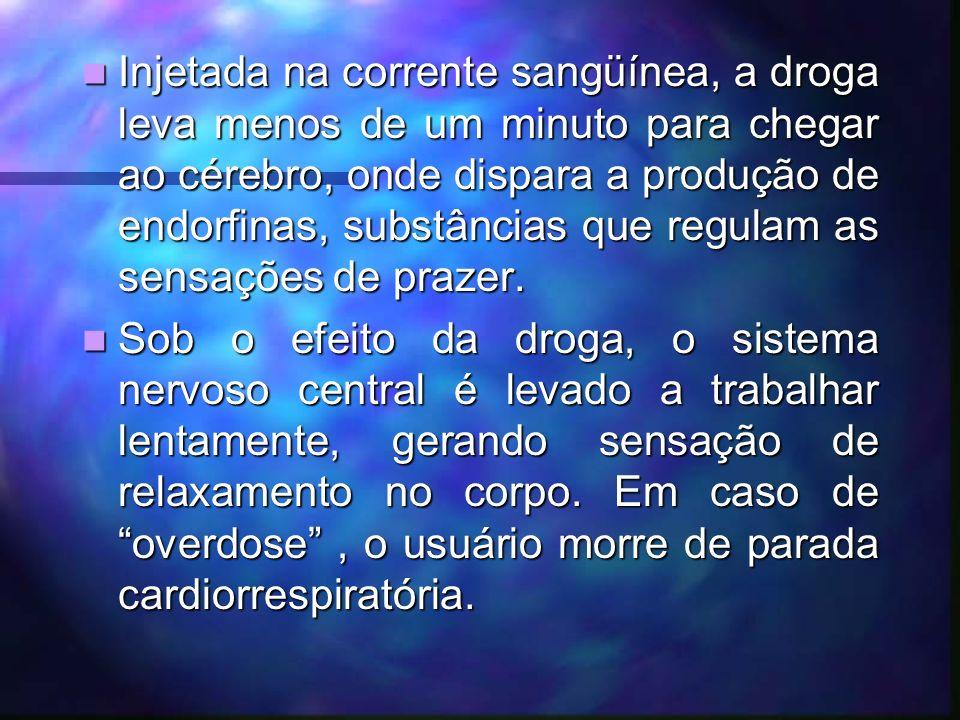 Injetar o pó diluído na veia é o método preferido dos viciados, pois assim não se perde nenhum miligrama da substância.