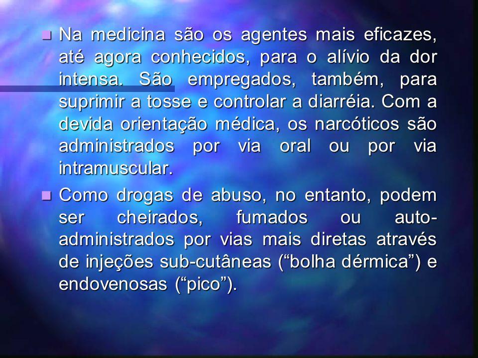 Na medicina são os agentes mais eficazes, até agora conhecidos, para o alívio da dor intensa.