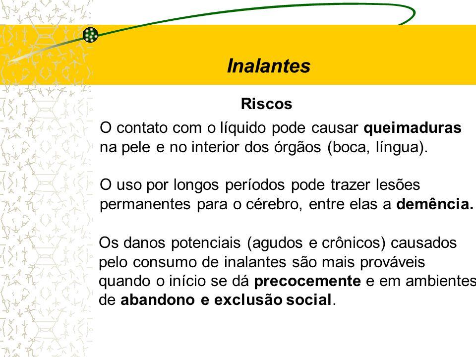 Riscos Inalantes O contato com o líquido pode causar queimaduras na pele e no interior dos órgãos (boca, língua). O uso por longos períodos pode traze