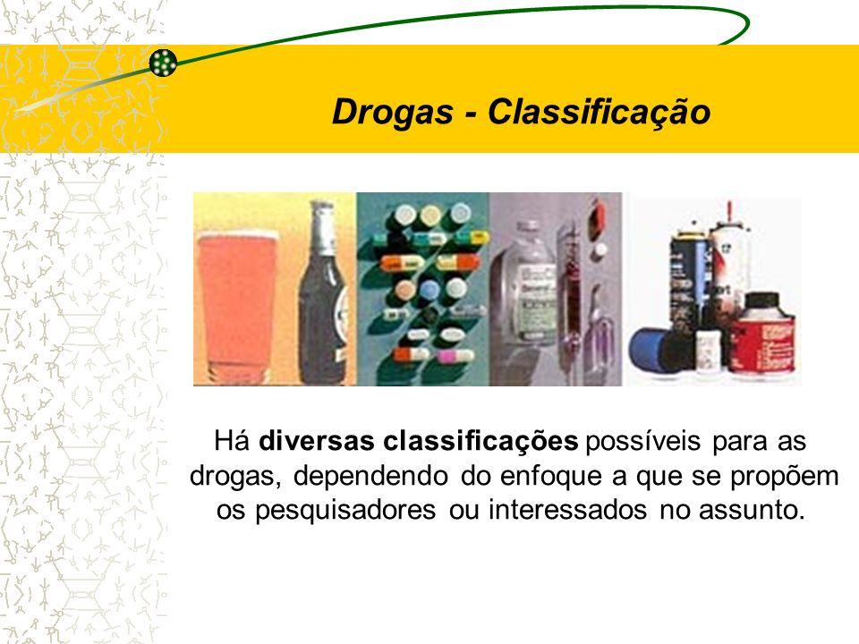 Há diversas classificações possíveis para as drogas, dependendo do enfoque a que se propõem os pesquisadores ou interessados no assunto. Drogas - Clas