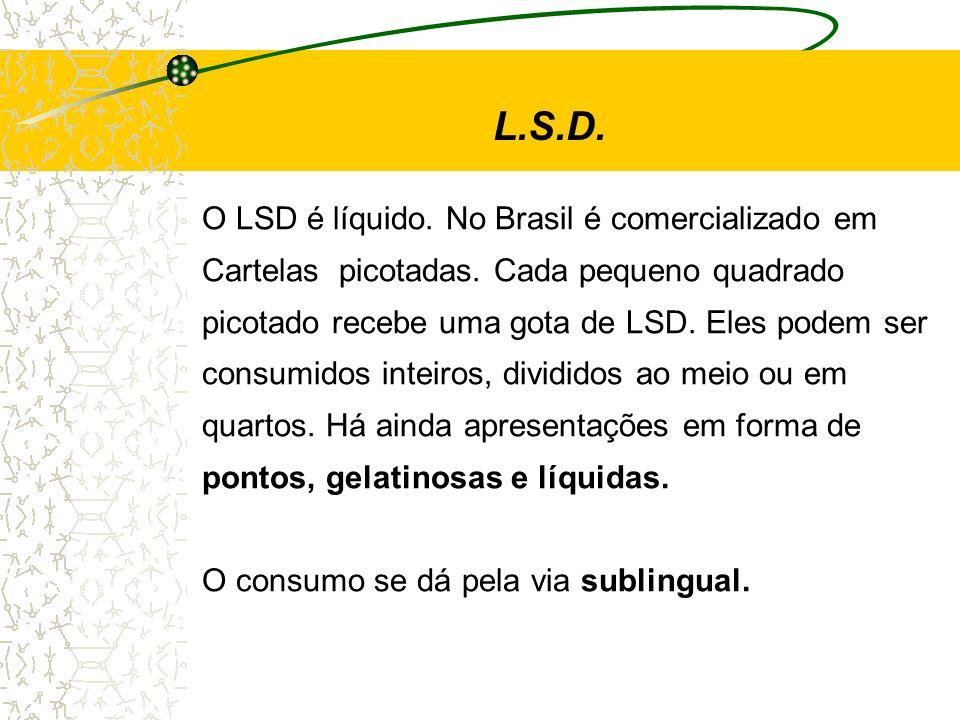 L.S.D. O LSD é líquido. No Brasil é comercializado em Cartelas picotadas. Cada pequeno quadrado picotado recebe uma gota de LSD. Eles podem ser consum