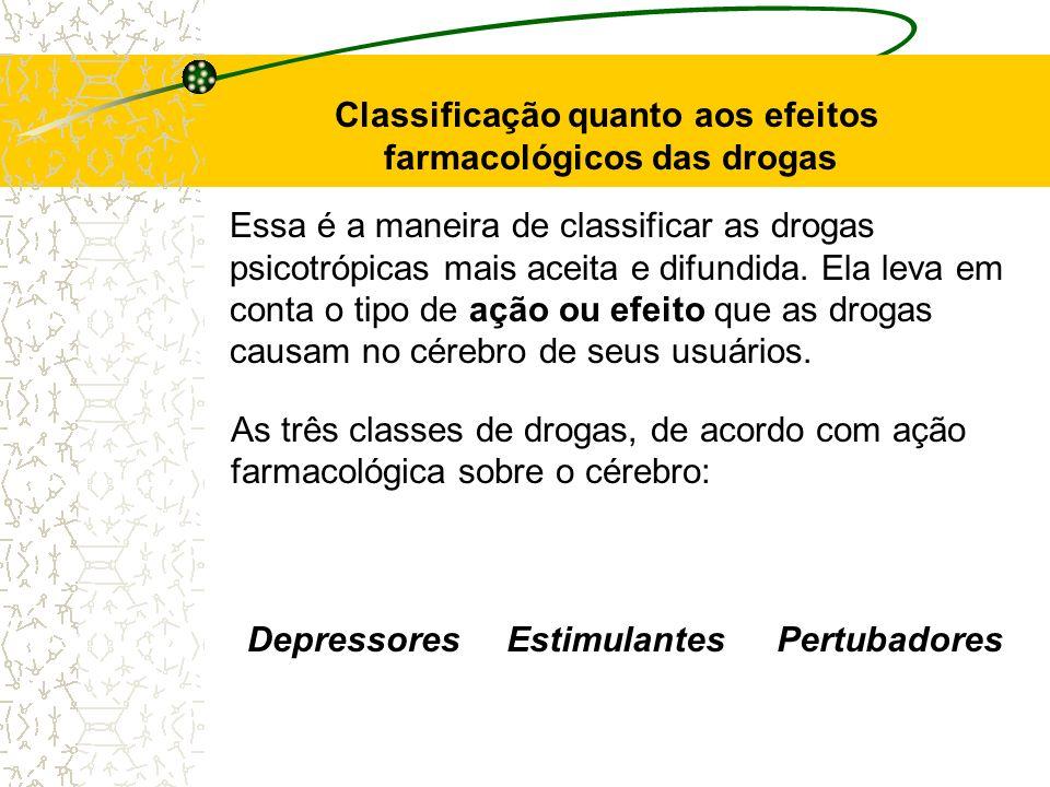 Essa é a maneira de classificar as drogas psicotrópicas mais aceita e difundida. Ela leva em conta o tipo de ação ou efeito que as drogas causam no cé