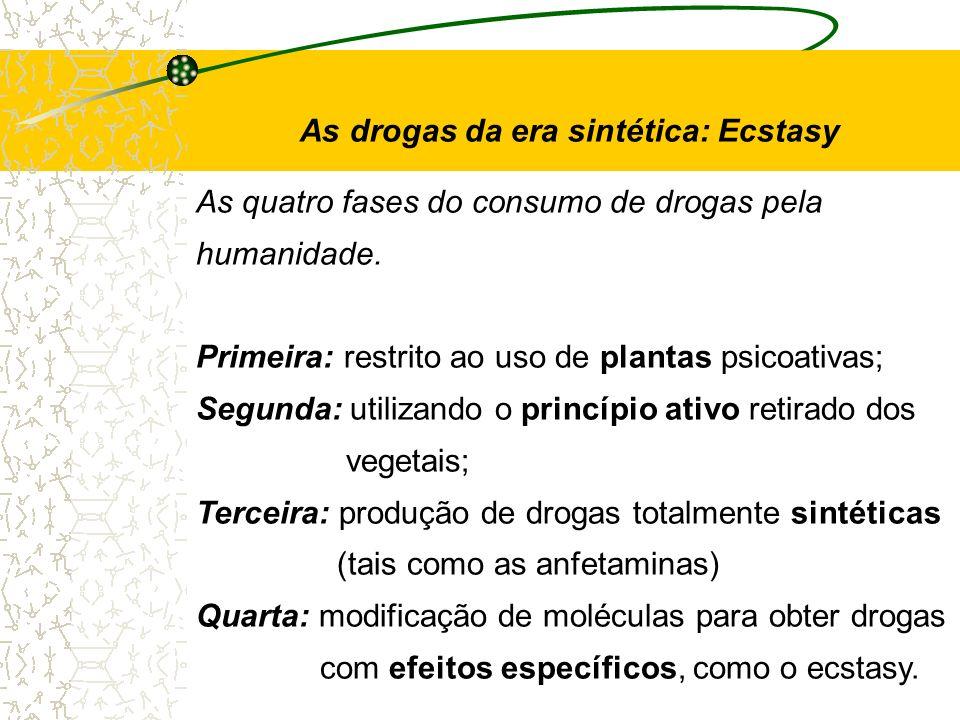 As drogas da era sintética: Ecstasy As quatro fases do consumo de drogas pela humanidade. Primeira: restrito ao uso de plantas psicoativas; Segunda: u
