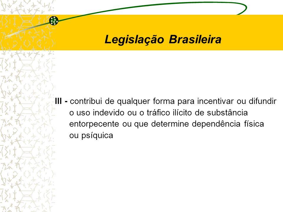 III - contribui de qualquer forma para incentivar ou difundir o uso indevido ou o tráfico ilícito de substância entorpecente ou que determine dependên