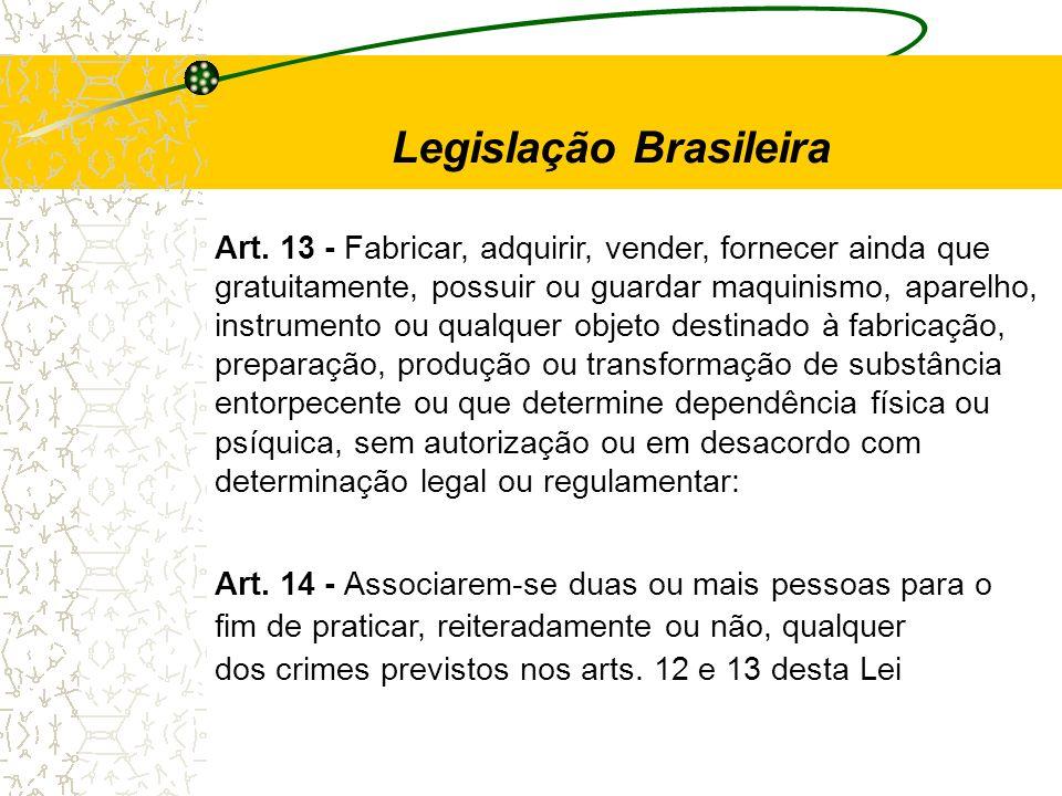 Art. 13 - Fabricar, adquirir, vender, fornecer ainda que gratuitamente, possuir ou guardar maquinismo, aparelho, instrumento ou qualquer objeto destin