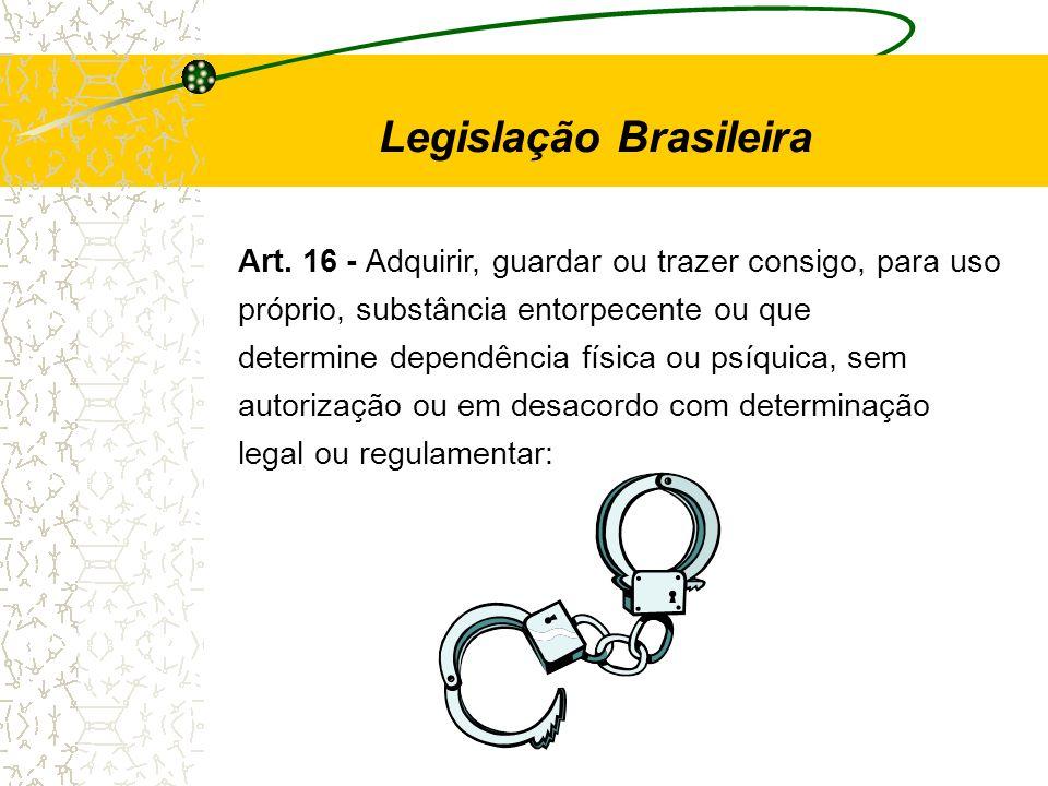 Art. 16 - Adquirir, guardar ou trazer consigo, para uso próprio, substância entorpecente ou que determine dependência física ou psíquica, sem autoriza