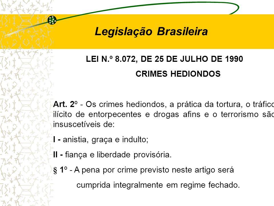 LEI N.º 8.072, DE 25 DE JULHO DE 1990 CRIMES HEDIONDOS Art. 2º - Os crimes hediondos, a prática da tortura, o tráfico ilícito de entorpecentes e droga
