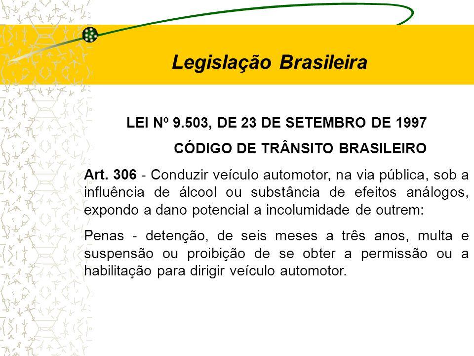 LEI Nº 9.503, DE 23 DE SETEMBRO DE 1997 CÓDIGO DE TRÂNSITO BRASILEIRO Art. 306 - Conduzir veículo automotor, na via pública, sob a influência de álcoo
