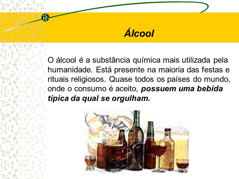 O álcool é a substância química mais utilizada pela humanidade. Está presente na maioria das festas e rituais religiosos. Quase todos os países do mun