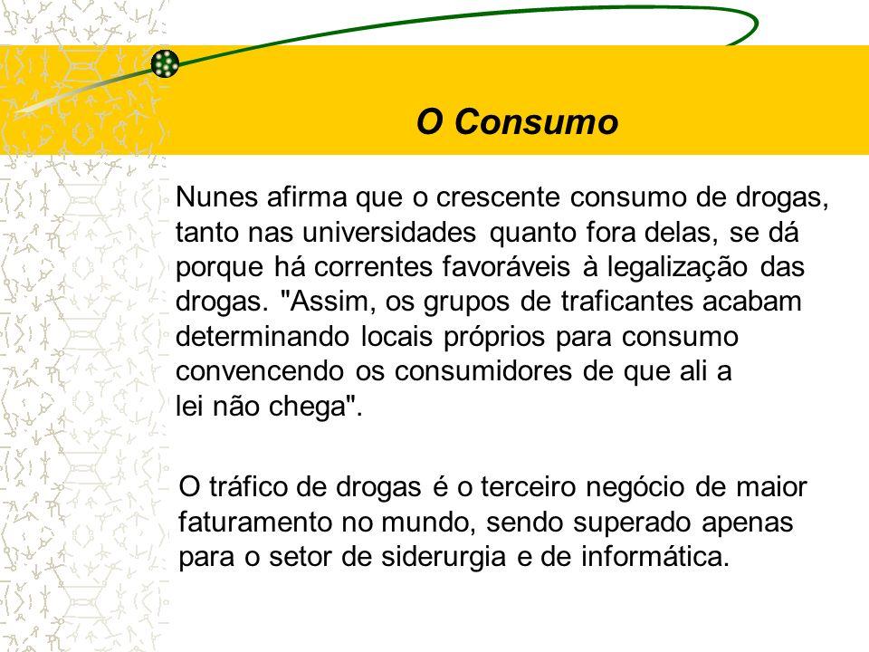 O Consumo Nunes afirma que o crescente consumo de drogas, tanto nas universidades quanto fora delas, se dá porque há correntes favoráveis à legalizaçã
