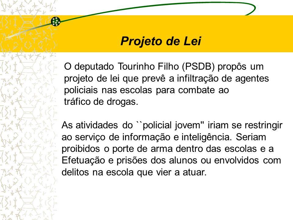 O deputado Tourinho Filho (PSDB) propôs um projeto de lei que prevê a infiltração de agentes policiais nas escolas para combate ao tráfico de drogas.